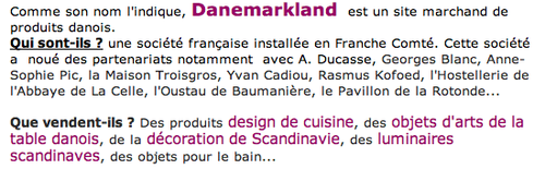 Boutique danoise Danemarkland